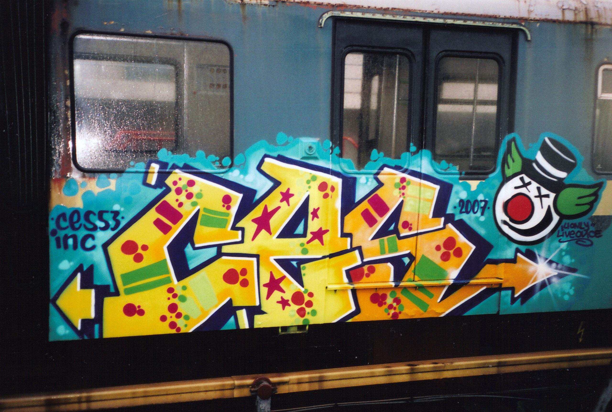 Graffiti op een metro, gemaakt door Ces53, een Nederlandse graffitikunstenaar.