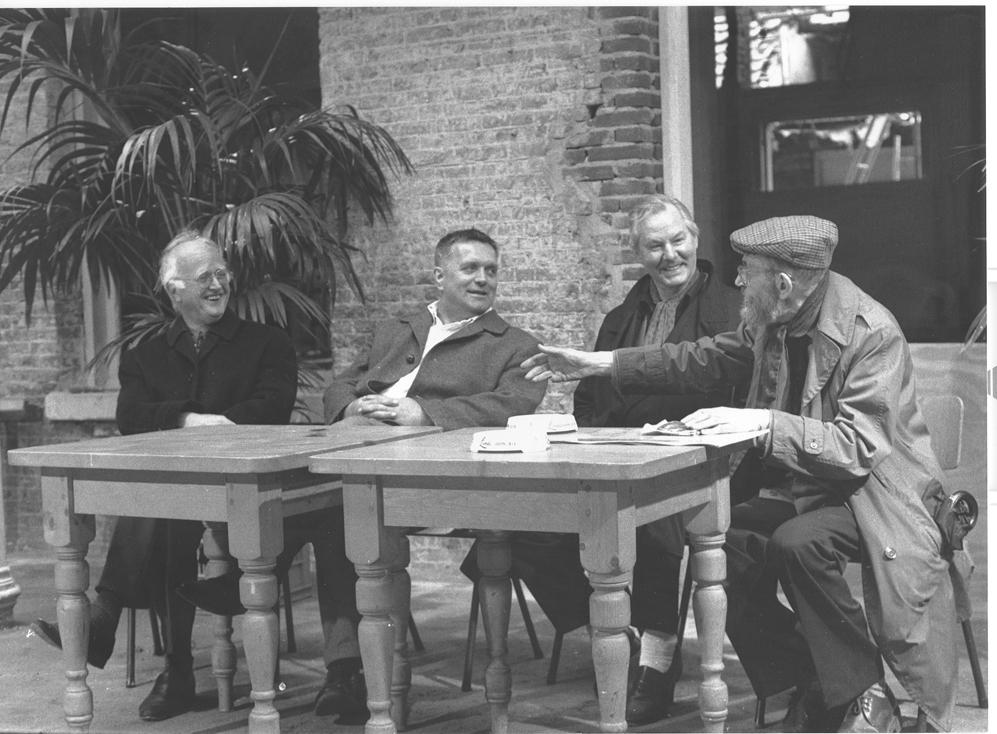 Henk Peters, Jan Henderikse, Armando en Jan Schoonhoven in Delft