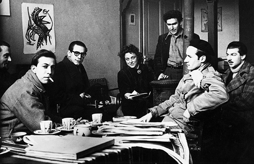 Publishers meeting of CoBrA in the atelier of Atlan in Paris in 1950. l. to r. Doucet, Constant, Dotremont, Mme Atlan, Atlan, Corneille en Appel.