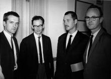 Jan Henderikse, Jan Schoonhoven, Armando en Henk Peeters, 1961, foto: Hermann Bartels