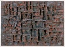 Jan Schoonhoven - gemengde techniek op paneel, R 58-2 Timor, 1958 (collectie Stedelijk Museum Amsterdam)