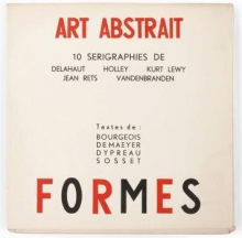 The frontpage of an edition with silkscreens from different artists that were active memers of Art Abstrait and Formes.