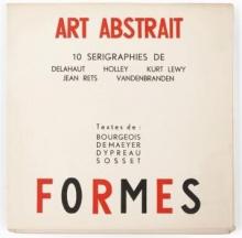 De omslag van een schutblad met daarin een zeefdrukkenreeks van enkele kunstenaars die in Art Abstrait en Formes actief waren.