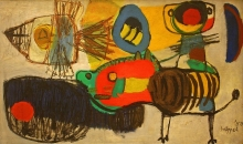 Karel Appel - la promenade, oil on canvas, 1950
