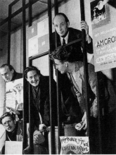 The first International Exhibition of Experimental art, CoBrA, Stedelijk Museum, Amsterdam, November 1949. The poet's cage, b-t, l-r:: Gerrit Kouwenaar, Bert Schierbeek, Lucebert, Jan Elburg, and Karl-Otto Götz.