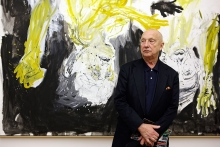 Georg Baselitz with his work 'The Bridge Ghost's Supper'