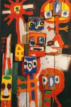 Karel Appel - asking children, oil on wooden construction, 1948