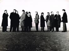 Group picture of Fugare: Theo van der Nahmer, Jaap Nanninga, Harry Disberg, Joop Kropff, George Lampe, Frans de Wit, Theo Bitter, Jan van Heel, Nol Kroes, Aart v.d. IJssel, Willem Hussem and Wim Sinemus.